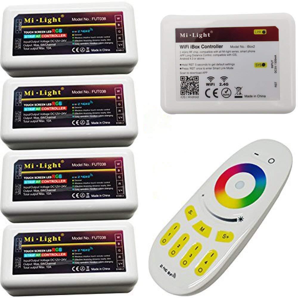 Tesfish 4pcs 2.4G 4-Zonen Kontrolleur WiFi mi LED Licht Kontrolleur Hub + RF Touch Fernbedienung für RGB LED Streifen DC12V-24V