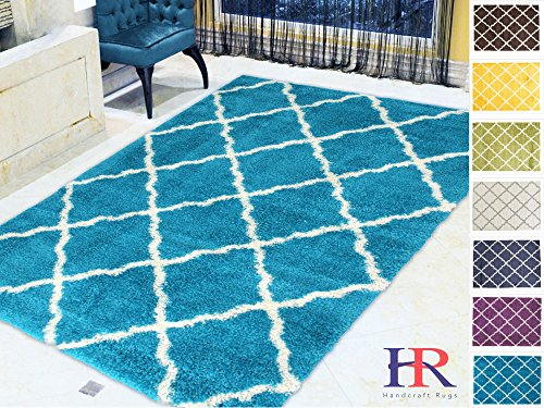 (Handcraft Rugs - Shaggy Rug Moroccan Trellis Diamond Pattern Turquoise and White Soft and plush shag area Rug Carpet (Approximately 8 ft. by 10 ft.) )