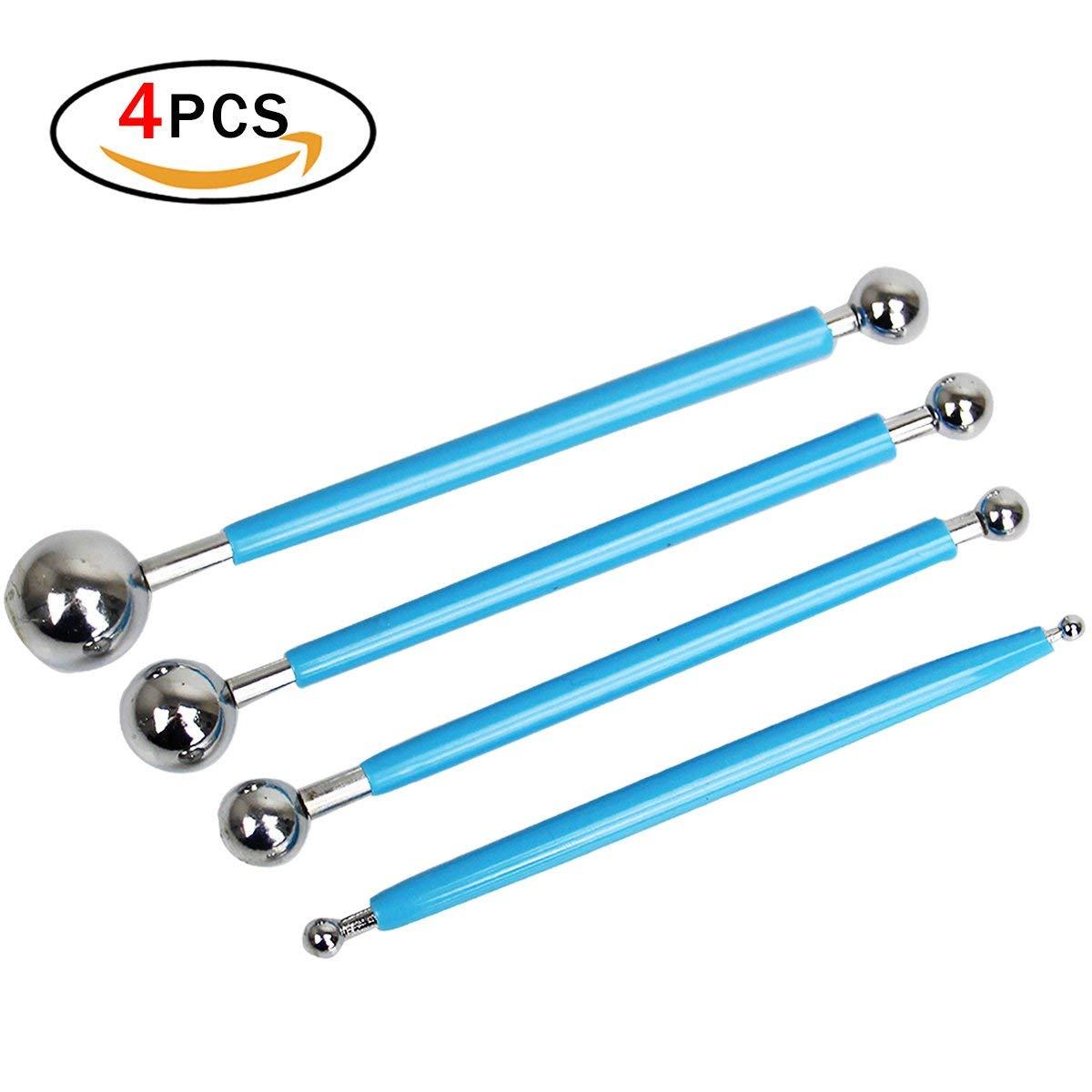 Sugarcraft Tools 4 PCS con 8 Dimensioni Metal Ball per Fondant Torta all\'Argilla Strumenti per Modellare la Decorazione a Fiore