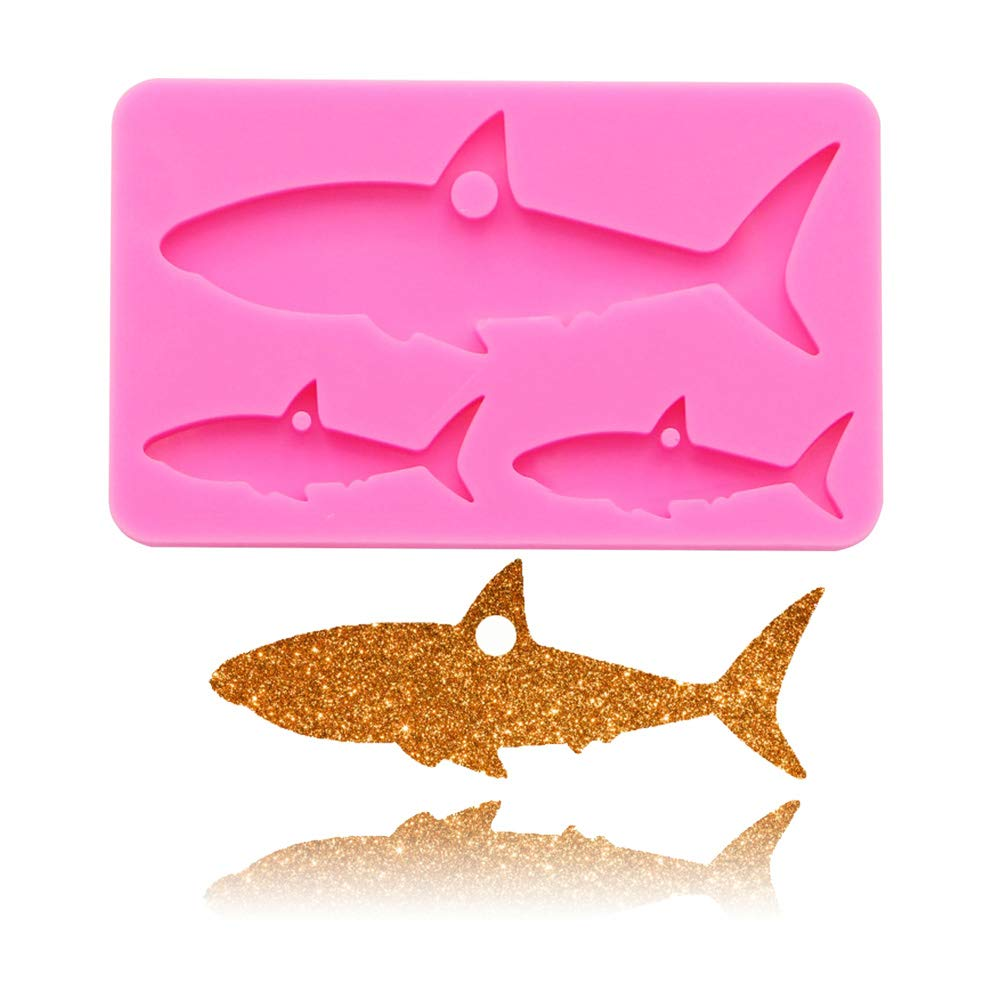 Shark Mother Baby Fish Keychain Silicone Mold with Hole for DIY Cupcake Decoration Pudding Desserts Ice Cube Gum Paste Soap Mould Jelly Shots Fondant Mold Chocolate Handmade Ice Cream Crystal