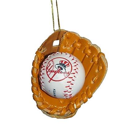 Kurt Adler New York Yankees Baseball In Leather Glove Ornament