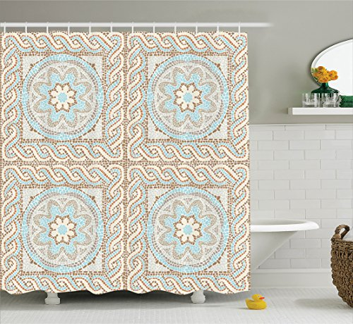 Antique Pattern (Ambesonne Antique Decor Collection, Mosaic Tile Design with Floral Elements Twists and Multi-Colored Circular Pattern, Polyester Fabric Bathroom Shower Curtain, 75 Inches Long, Cream Brown Blue)