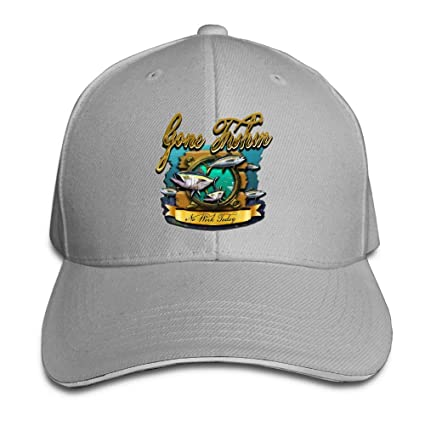 9c37de6ed39 JimHappy Gone Fishing Cute Trucker Cap Durable Baseball Cap Hats Adjustable  Peaked Sandwich Cap