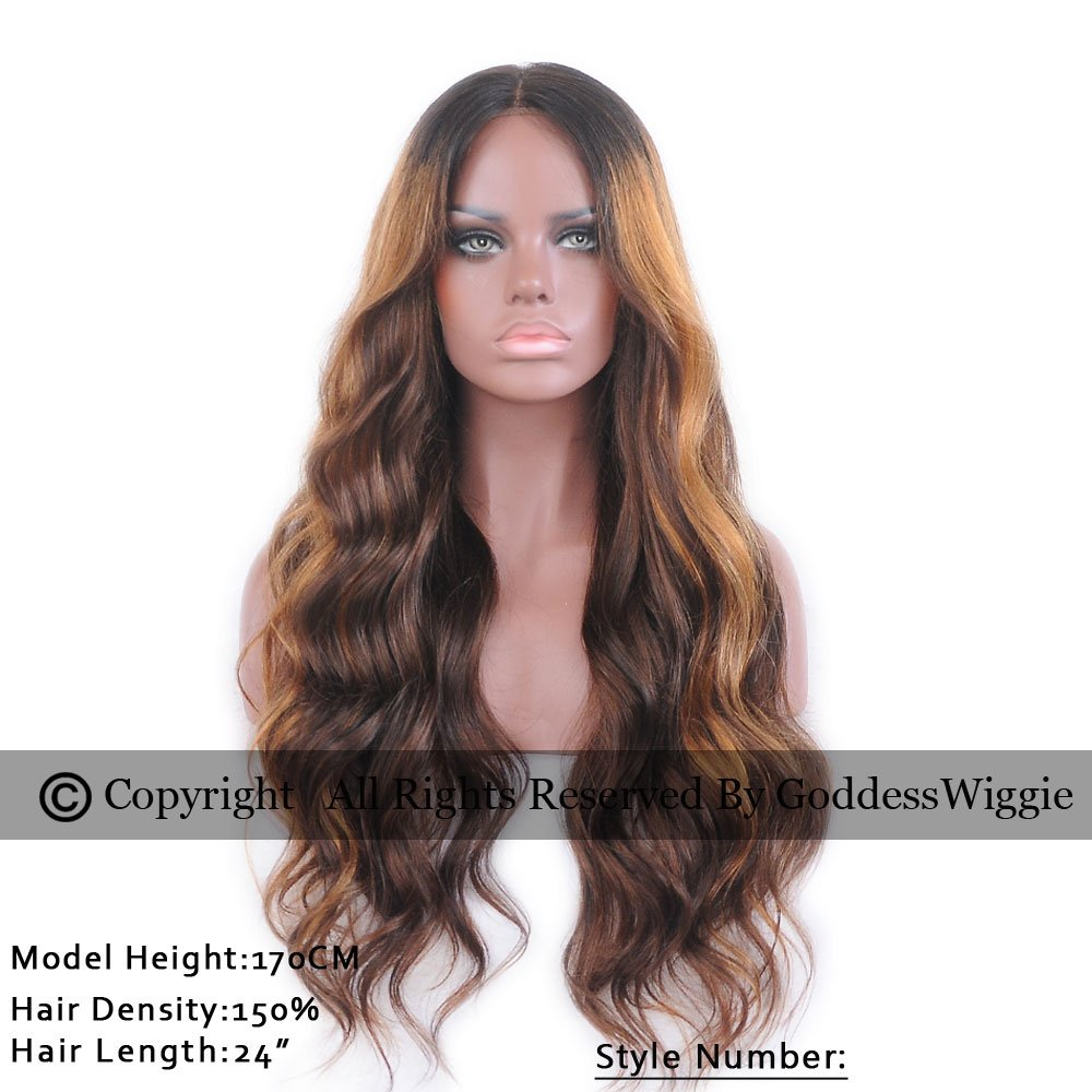 6A Goddess Wiggie Long Human Hair Lace Front Wigs 130% Density Ombre Color for Women (24inch)
