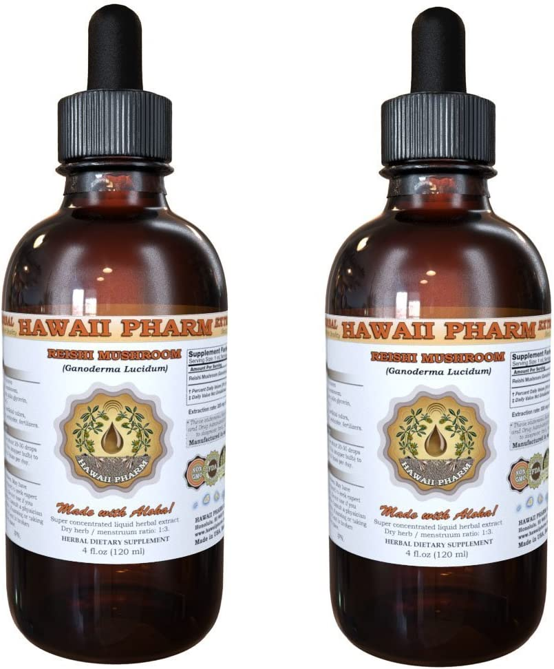 Reishi Liquid Extract – Tonic of Emperors, Organic Reishi Mushroom Ganoderma Lucidum Tincture, Herbal Supplement, Hawaii Pharm, Made in USA, 2×2 fl.oz