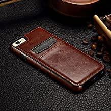 For Samsung Galaxy Note 5 Leather Back Case, CaseShell® Premium Skin TPU Leather Case with Card Holder Wallet Back Case Cover - Brown