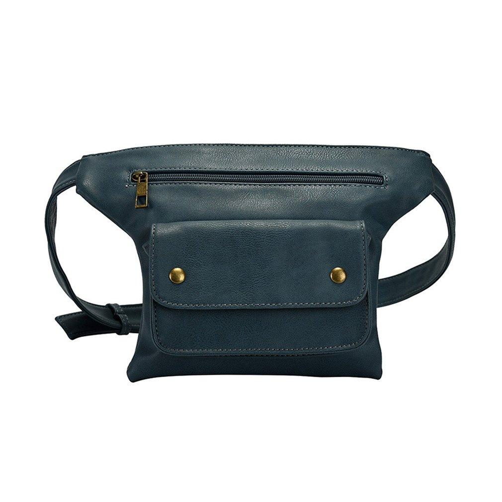 Qualitydreamei Casual Waist Pack Women Pu Leather Fanny Packs Multi-Function Unisex Waist Bags blue