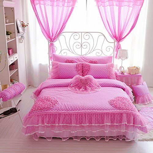 FADFAY Girls Pink Polka Dot Bedding Set Ruffle Roses Duvet Cover