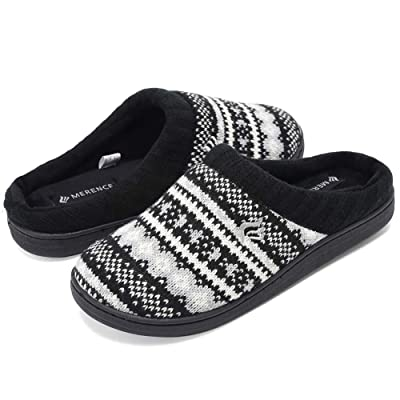 fanture Women's Memory Foam House Slippers Sweater Knit Embroidered Pattern and Ribbed Hand-Knit Collar | Slippers