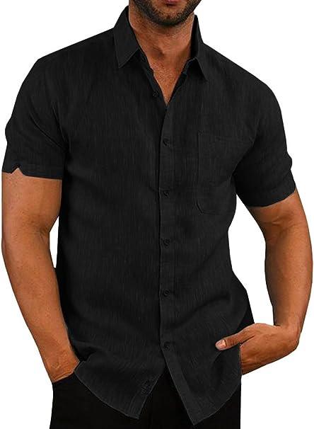 Mens Short Sleeve Shirt Summer Beach Cotton Linen Plain Casual Shirt Tops Blouse