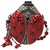 Mary Frances Hand Beaded Bejeweled Lady Bug Red Black Convertible Clutch Handbag Shoulder Bag