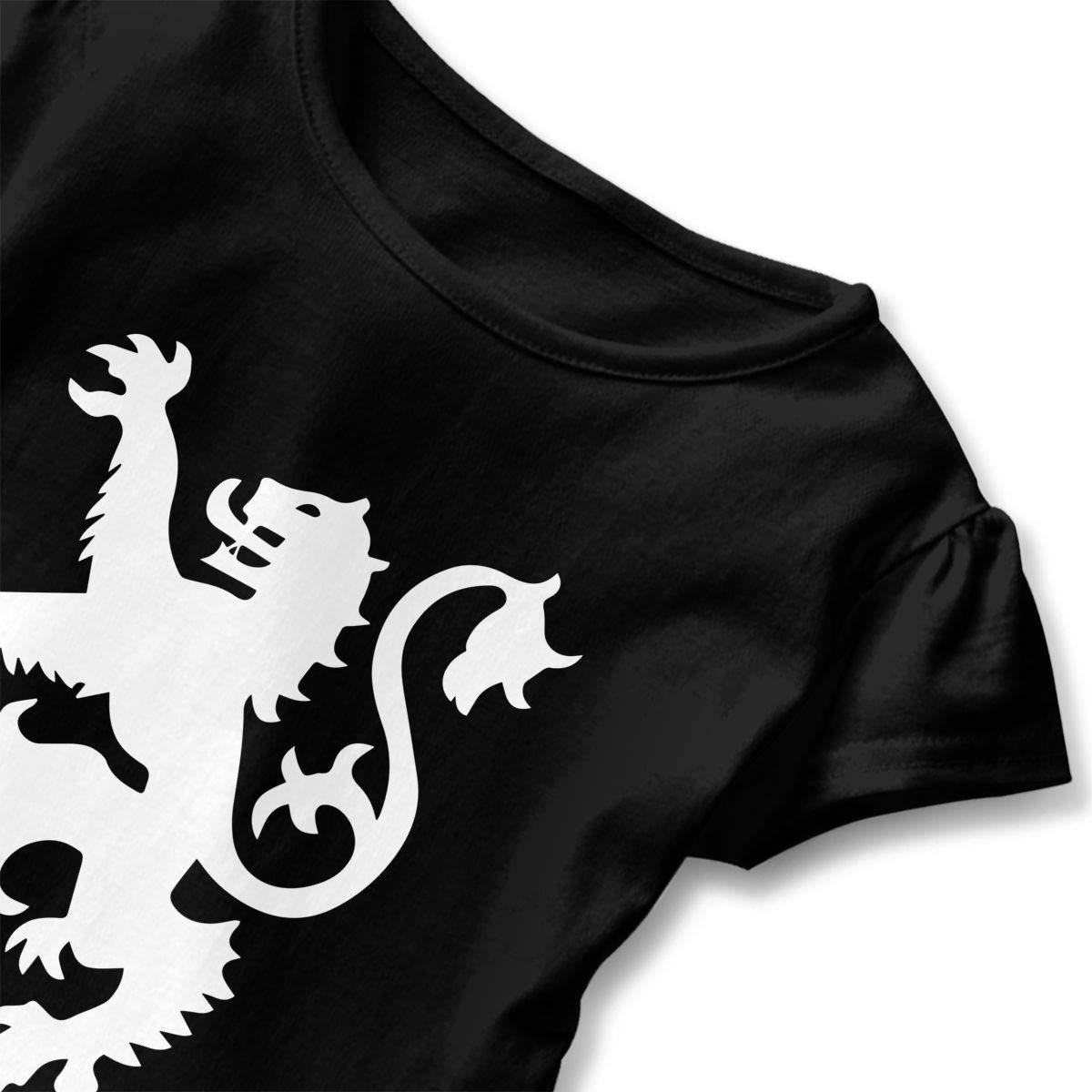 HYBDX9T Little Girls Lion Rampant Scotland Scottish Funny Short Sleeve Cotton T Shirts Basic Tops Tee Clothes