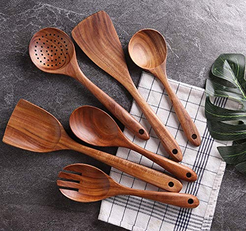 Craftatoz Handmade Wooden Non-Stick Serving and Cooking Spoon Kitchen Tools Utensil, Set of 6