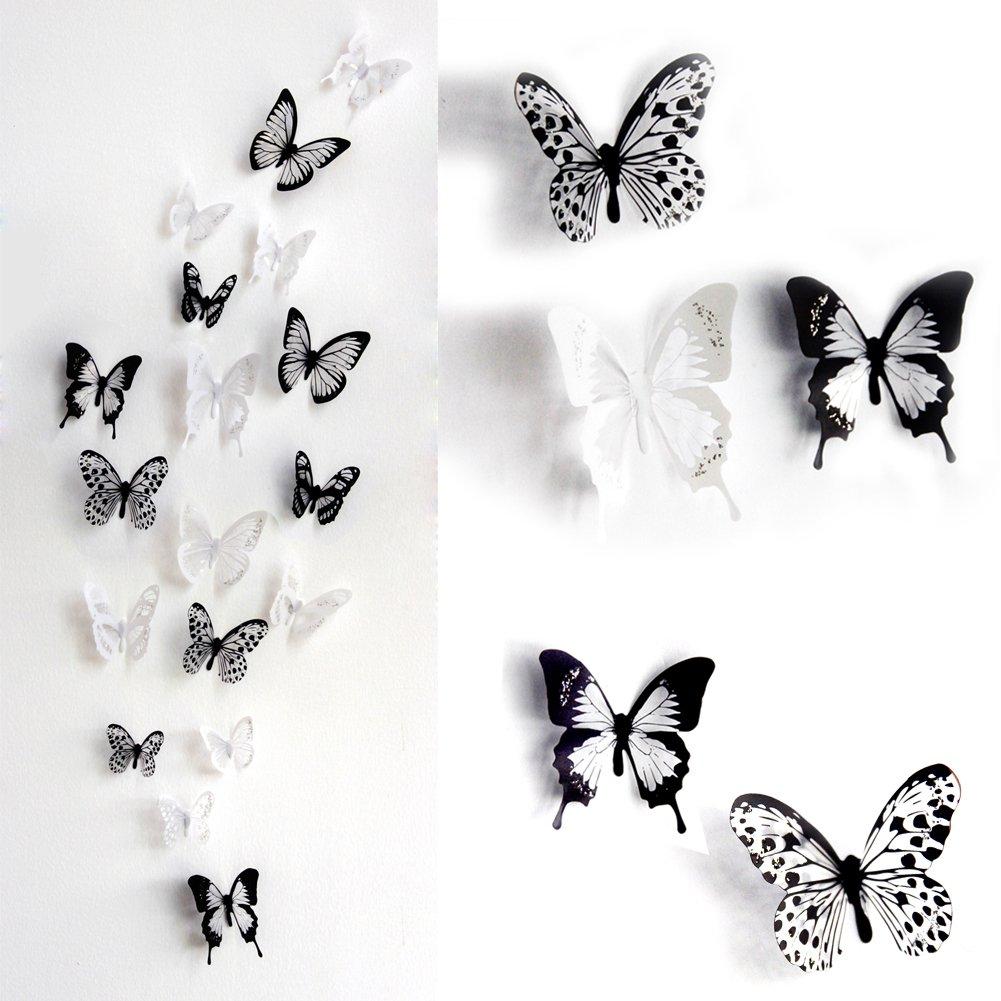 noir skyblue-uk 18 stickers Muraux de Papillons 3D Sticker Mural Autocollants bricolage papillon amovible Reutilisable Pour chambre Salon