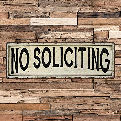 - No Soliciting Vintage Looking Shabby Chic Metal Sign Kitchen Home Wall Dcor