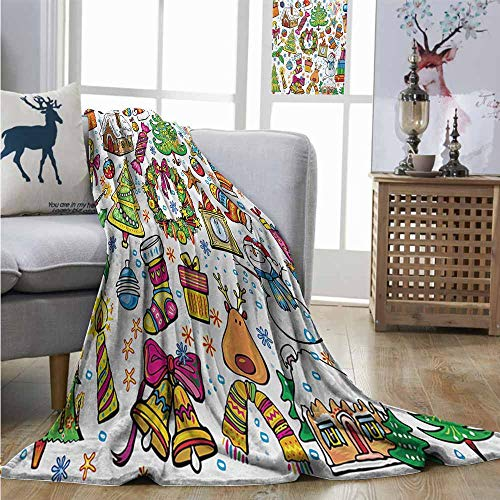 New York Yankees Snowman - Homrkey Digital Printing Blanket Christmas Cute Xmas Elements with Candies Snowman Fir Sweets Celebration Kids Nursery Theme Blanket for Sofa Couch Bed W70 xL84 Multicolor