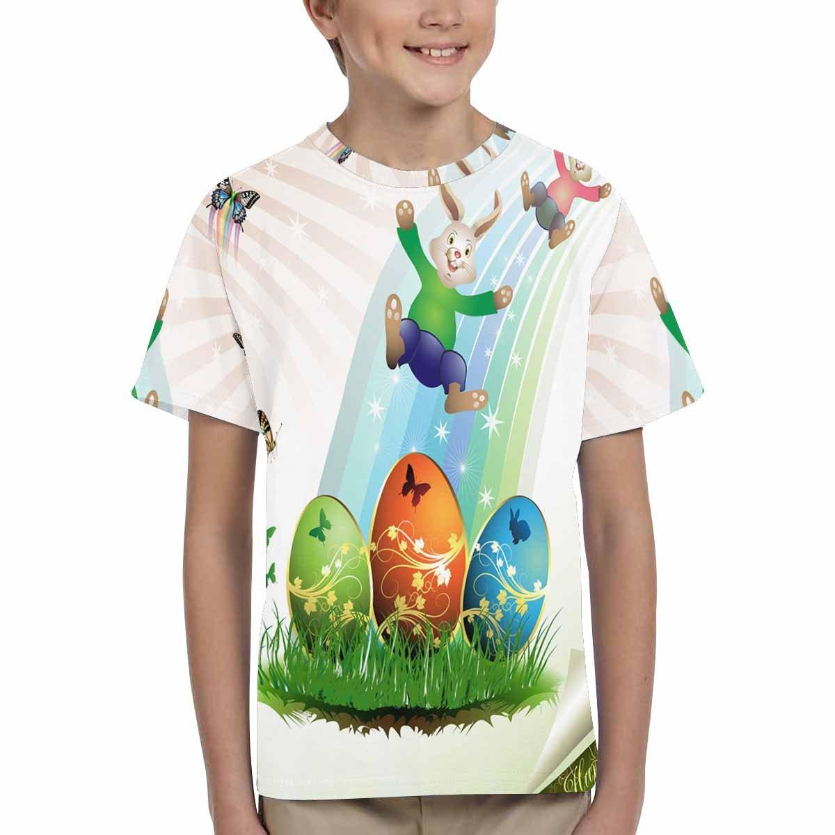 INTERESTPRINT Kids T-Shirts Easter Bunnies XS-XL Butterflies and Eggs on Grass