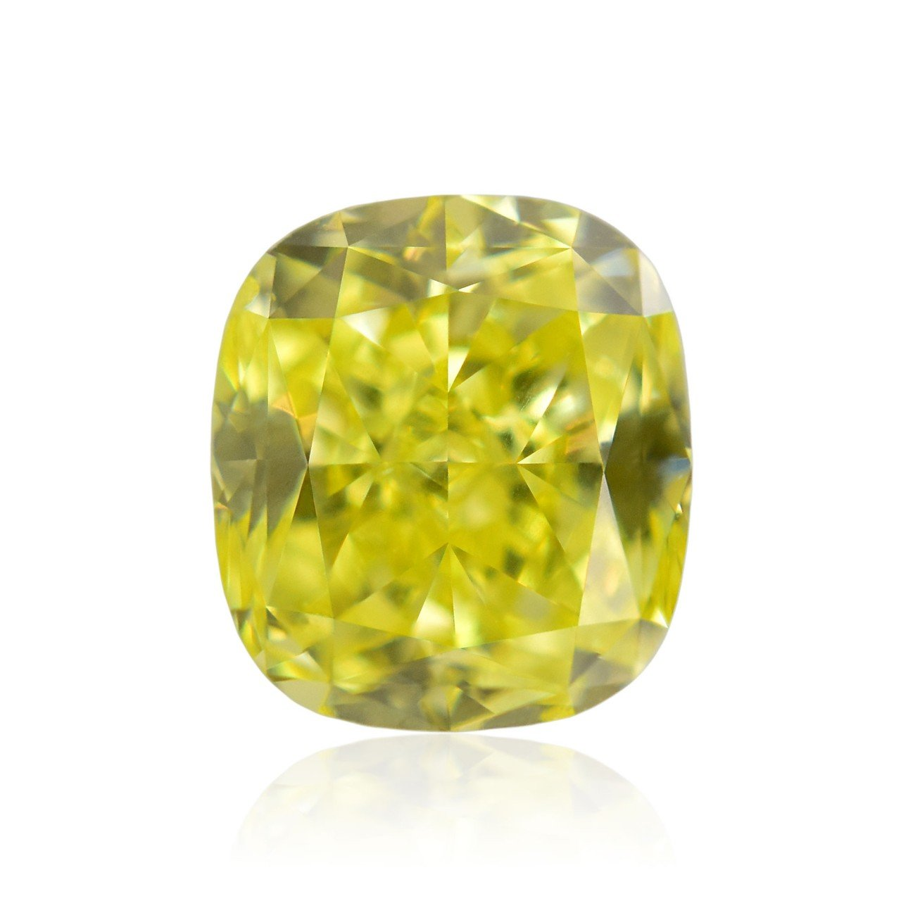 0.70Cts Fancy Intense Yellow Loose Diamond Natural Color Cushion Cut GIA Cert