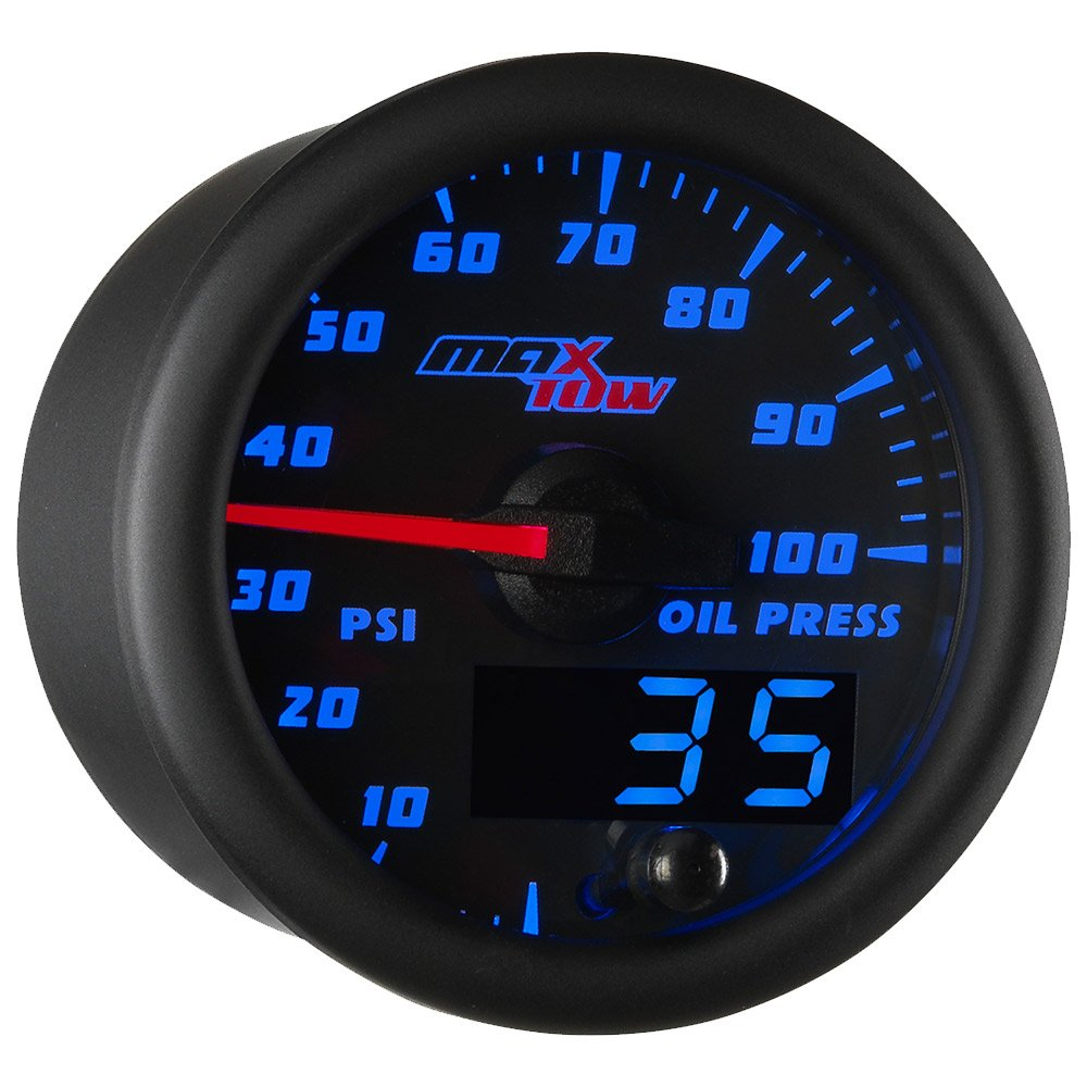 Black Gauge Face Includes Electronic Sensor Analog /& Digital Readouts 2-1//16 52mm Blue LED Illuminated Dial MaxTow Double Vision 100 PSI Oil Pressure Gauge Kit for Trucks