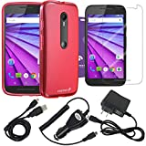 Fosmon Bundle for Motorola Moto G (3rd Gen, 2015): (DURA-FRO) Flexible Gel Case, Micro-USB Charger Combo Pack (Car Charger/Travel Charger/USB Cable), and 3-Pack Screen Protector [HD CLEAR] for Motorola Moto G (3rd Gen, 2015) (Hot Pink)