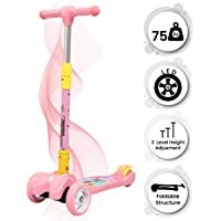R for Rabbit Road Runner Scooter for Kids Smart Kick Scooter, 3 Adjustable Height, Foldable, LED PU Wheels & Weight Capacity 75 kgs 3 to 14 Years (Pink)