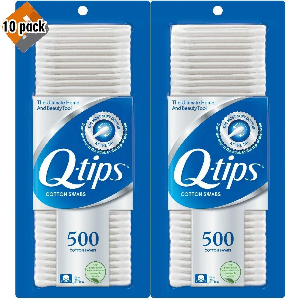 Q-tips Cotton Swabs 500 ea (Pack of 10)