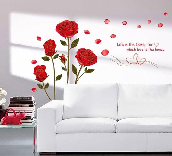 Buy Decals Design U0027Romantic Rose Flowersu0027 Wall Sticker (PVC Vinyl, 50 Cm X  70 Cm), Multicolour Online At Low Prices In India   Amazon.in
