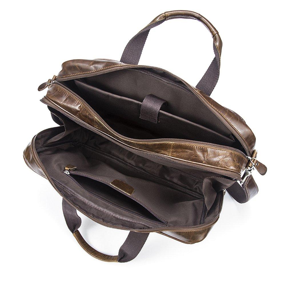 Genda 2Archer Mens Leather Briefcase Messenger Tote Bag Fit 14-inch Laptop