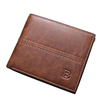 225117dd6 COOLFUN Cartera De Cuero PU/Billetera Tarjetero Minimalista para Hombre,  Tarjetero para Hombre,