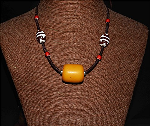 Tibetan Tiger tooth Dzi Bead Necklace Pendant Gzi Double Water Wave stripes Mala Amber Antique Baltic Sea Egg Yolk Color Butterscotch Genuine Beads Prayer Beads Bakelite Tibet Natural Authentic Real Mala Worry Buddhism Barrel Islamic Komboloi Tasbih Misbahah Chain Lucky Charm