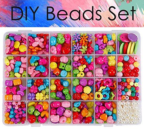 DIY Beads Set 24 Type Assorted Shapes Colorful Acrylic Plastic Beads for DIY Bracelets,Necklaces, Key Chains and Jewelry