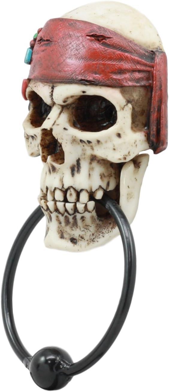 Ebros Dead Men Tell No Tales Pirate Skull with Bandana Door Knocker Figurine Pirates of The Caribbean Seas Skeleton Door Knocker
