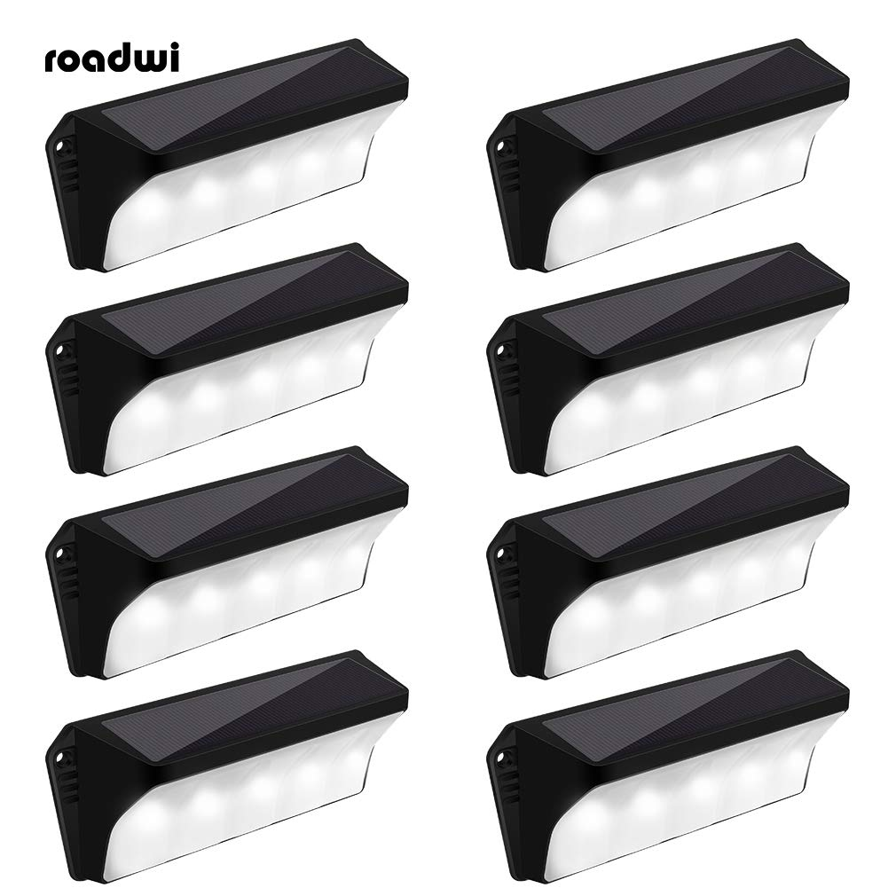 Solar Powered Stair Step Light, Wireless Waterproof Outdoor Lights Security Directive Decorative Lighting for Backyards Decks Driveway Fence Garden Garage Porch Pathway Patio Wall(8pack)