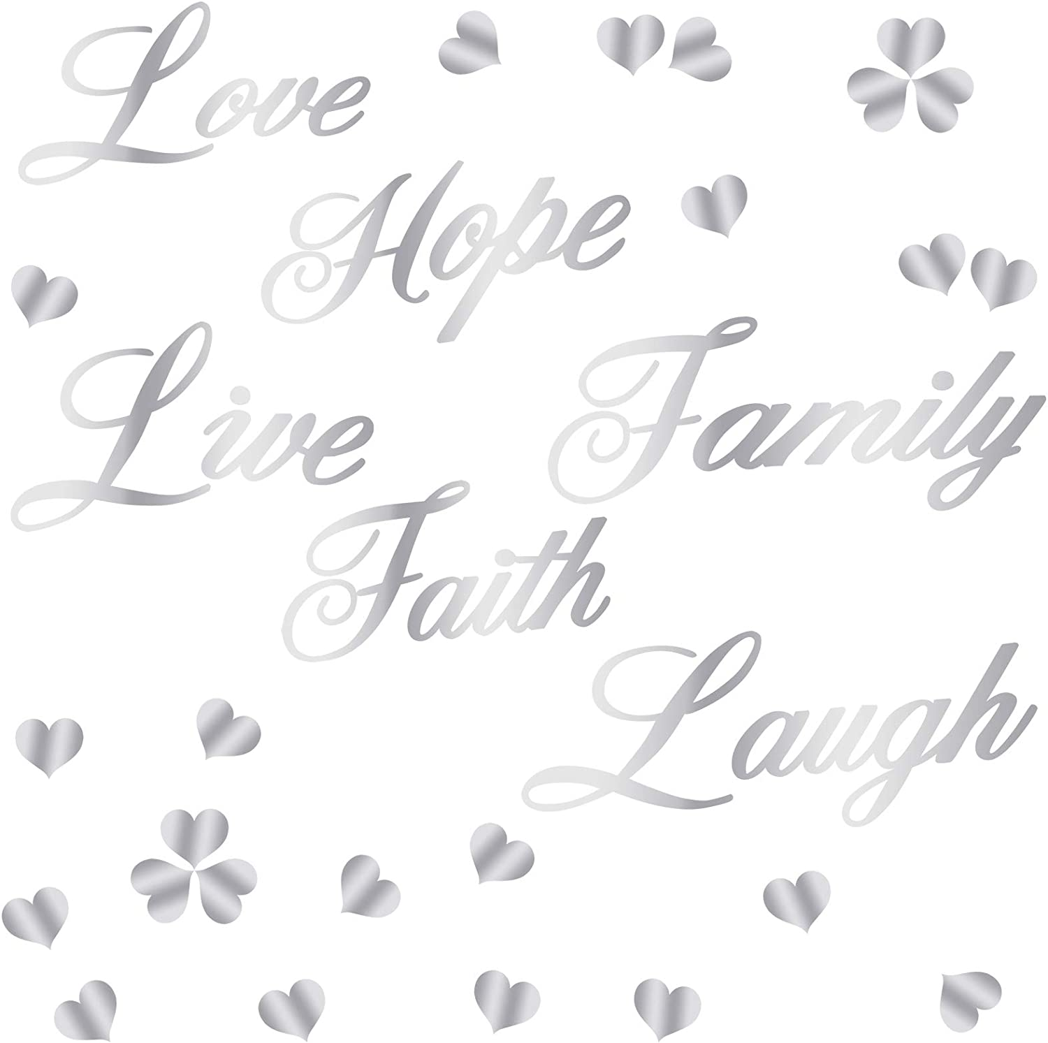 Sntieecr 23 Pack 3D Acrylic Mirror Wall Stickers Decal Faith Live Laugh Hope Love Family Silver Mirror Wall Stickers Hearts Shaped Wall Decal for Home Living Room Bedroom Wall Decoration
