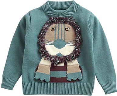 K-Youth 1 a 4 Año Blusa de Punto Niño Invierno Navidad León Suéter Niña Ropa Bebe Niño Jersey para Niñas Ropa Bebe Niña Camiseta Manga Larga Infantil Otoño Abrigos Niños Sudadera: Amazon.es:
