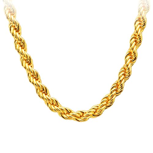 4fc53a68faaec Xoonic's Gold Plated Rope Chain 5 mm Thick/22 Inch for Men and Women ...