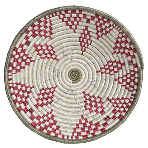 All Across Africa Handwoven 12-inch Hope Basket, Red and Ivory with Metallic Silver