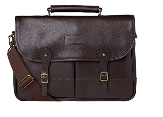 74272086a20 Amazon.com   Barbour Leather Briefcase - Chocolate   Briefcases