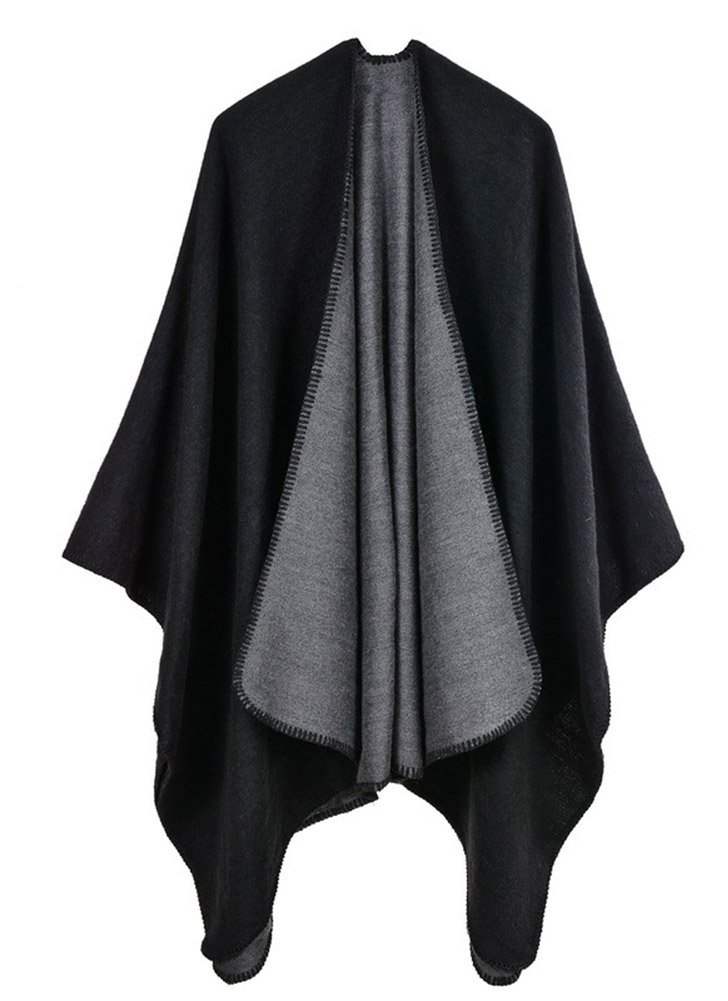 Hycurey Women Winter Knitted Faux Cashmere Poncho Capes Plus Size Shawl Cardigans Sweater Coat Black-grey Free