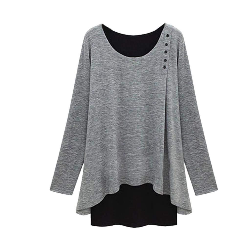 Taore Women Plus Size Long Sleeve Asymmetry Hem Loose Blouse Tunic T-Shirt (4XL, Gray)