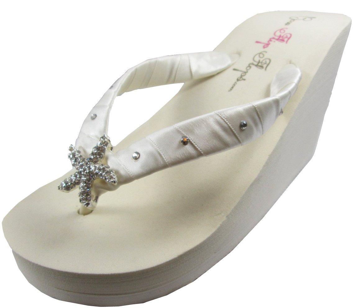Starfish Swarovski Flip Flops Womens Bridal Wedding Platform Heel Satin Ivory