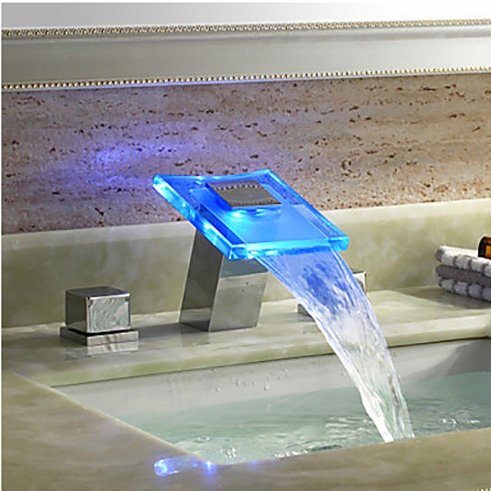 愛用 盆地の蛇口は B07DCVBNKQ、LED色の滝の流域の蛇口温かいと冷たい分割LEDカラー洗面器の蛇口は、3つのセットCUIYAN B07DCVBNKQ, いい肌発信!美サイエンス:06f6e3d6 --- arianechie.dominiotemporario.com