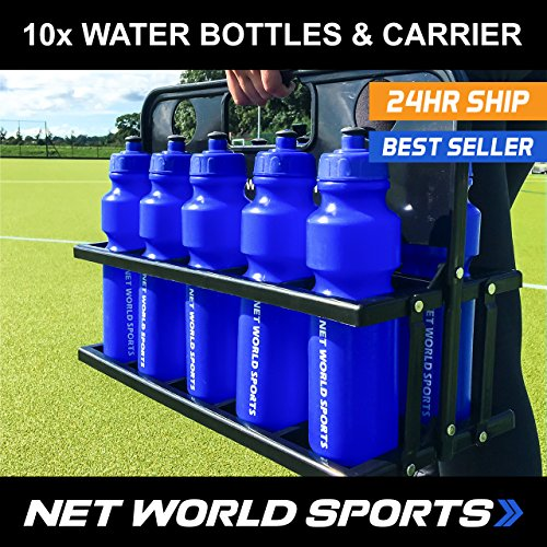 Sports Drink Water Bottle Carrier - With or Without Bottles. Stay hydrated and perform to your best ability. [Net World Sports] (Carrier & 10 Water (Team Water Bottle Carrier)