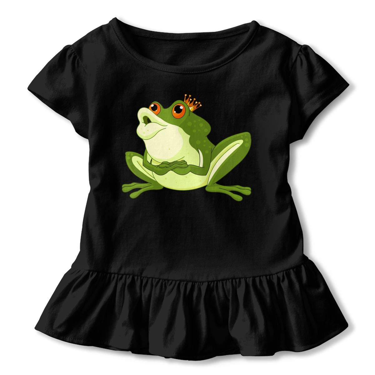 JVNSS Art Design Green Prince Frog with Crown Comfort Infant Girl Flounced T Shirts Tee Shirts for 2-6T Baby Girls