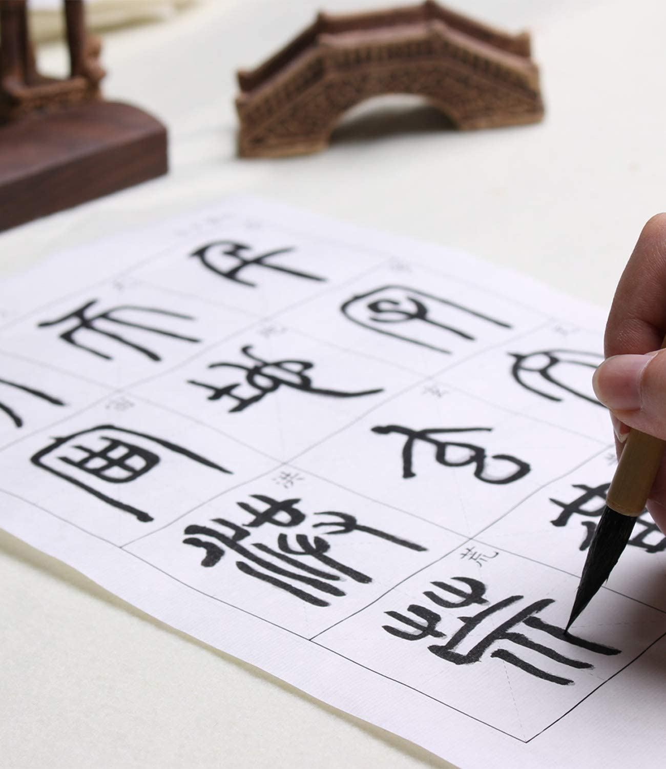 Tianjintang A4 Size Chinese Calligraphy Sumi Ink Handwriting Big Size Characters Tracing Xuan Paper for Beginner 84 Sheets The Thousand Character Classic 千字文 Zhi Yong 智永 Style