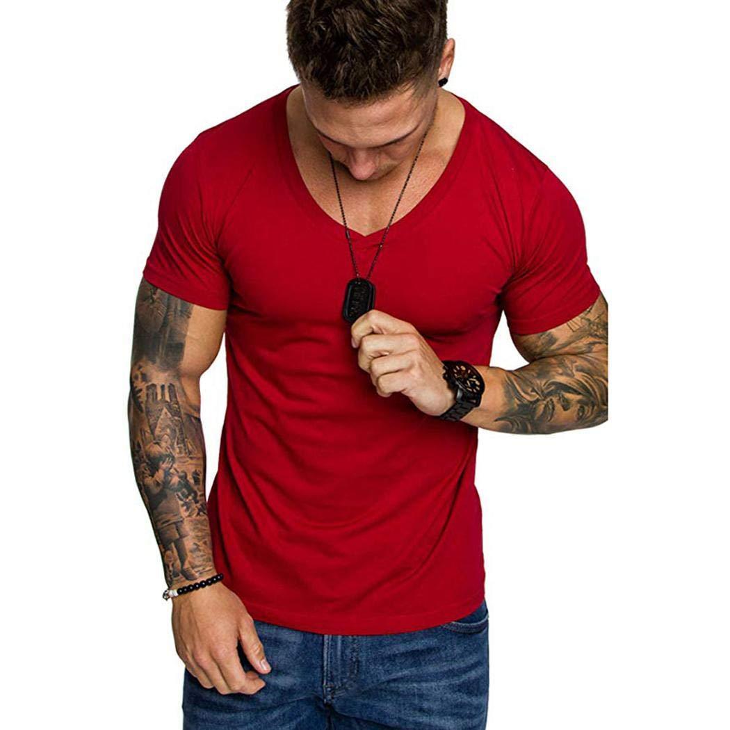 Weardear Men Fashion T-Shirt Casual V-Neck Short Sleeve Solid Slim Summer Pullover Top T-Shirts