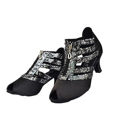 WYMNAME Womens Chaussures de Danse Latine Fond Mou Chaussures de Danse de Salon Sandale-Noir Longueur du Pied=23.3CM(9.2Inch) QxD4B