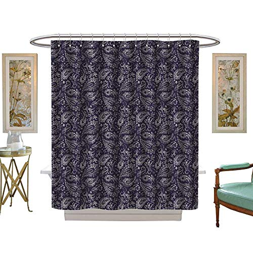 Giraffe Flower Blue Shower (luvoluxhome Shower Curtains with Shower Hooks Vintage Paisley Ornament Seamless White Flowers Leaves and curlson a Blue Handmade s for Textil W69 x L75 Satin Fabric Sets Bathroom)