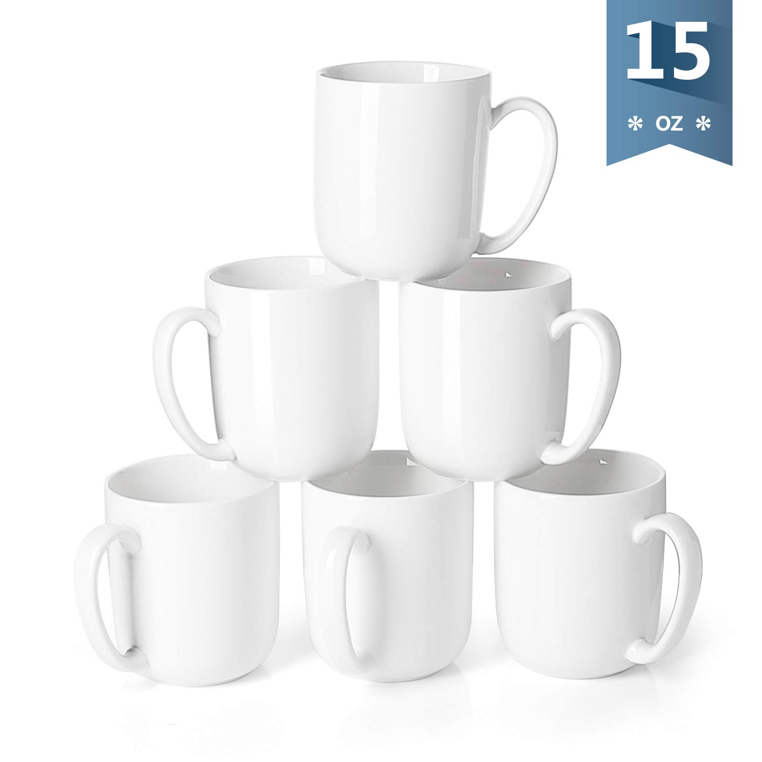 Sweese 6215 Porcelain Mugs for Coffee, Tea, Cocoa, 15 Ounce, Set of 6, White
