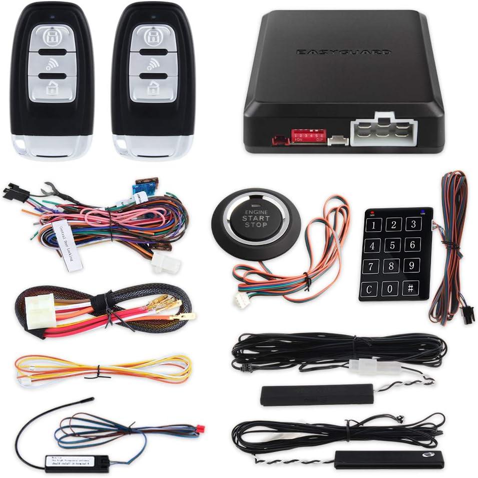 EASYGUARD EC004 Smart Rfid Car Alarm system Push Engine Start button /& Keyless Go System Fits for most DC12V cars Easyguard electronics ltd